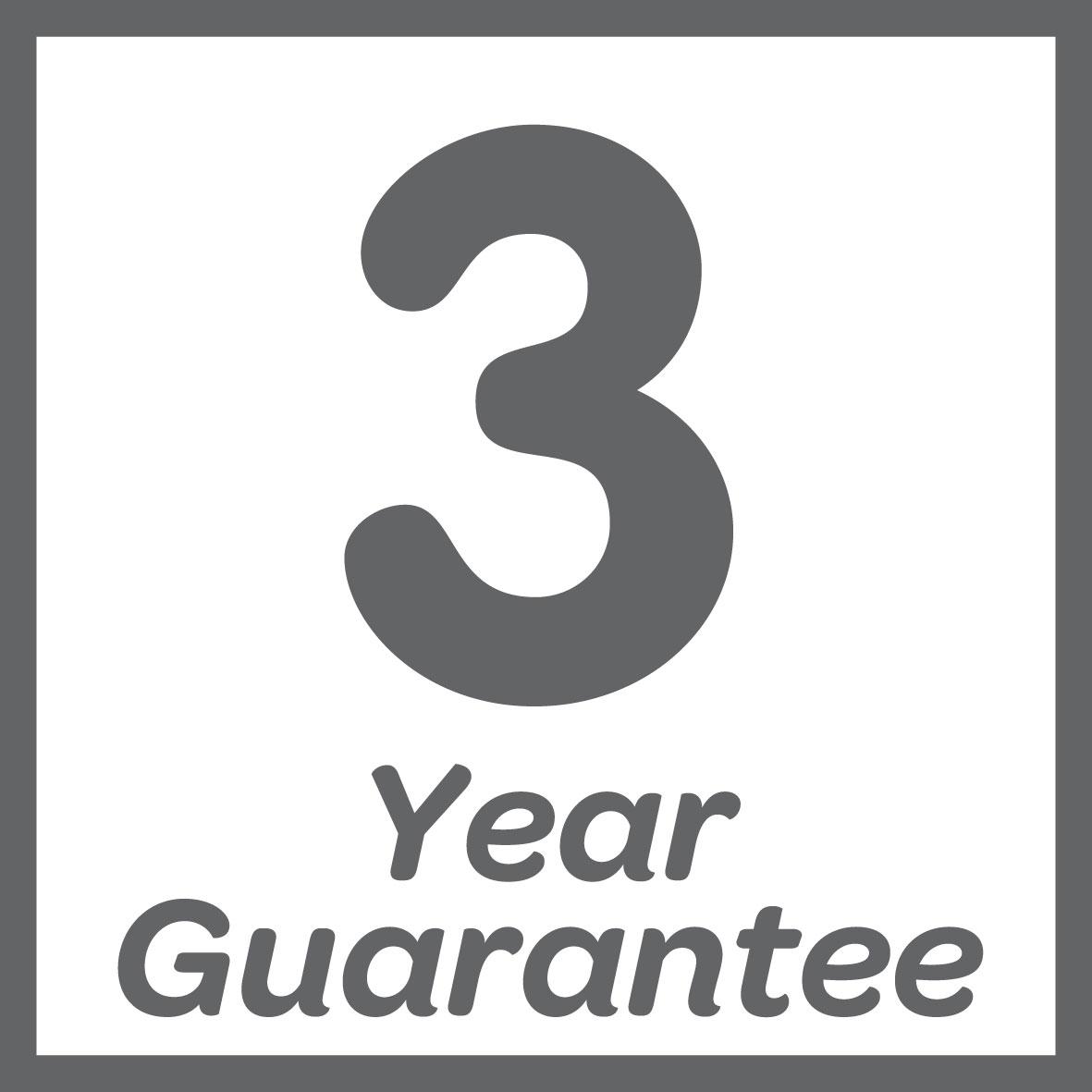 Guaranteed for 3 years
